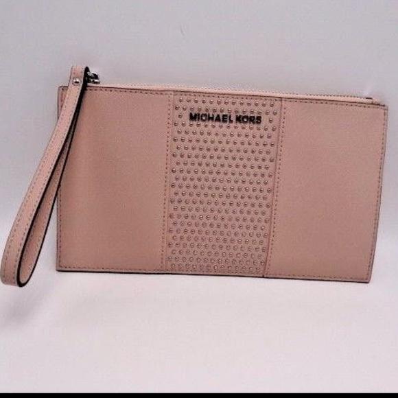48e7ca77fe58 Michael Kors Bags | Saffiano Leather Micro Studded Clutch | Poshmark
